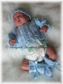 Cardigan, hat and bootees set-premature baby or doll. Links to a few free patterns on this page