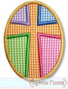 Patchwork CROSS EASTER EGG Applique 4x4 5x7 6x10 by LynniePinnie