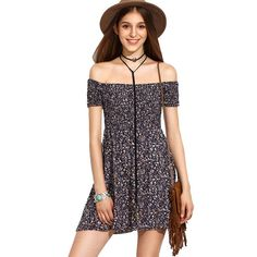 To find out about the Calico Print Bardot Neckline Flare Dress at SHEIN, part of our latest Dresses ready to shop online today! Casual Dresses For Women, Short Sleeve Dresses, Mini Dresses, Skater Dresses, Floral Dresses, Fit N Flare Dress, Long Sleeve Mini Dress, Dress Long, Dresses Online