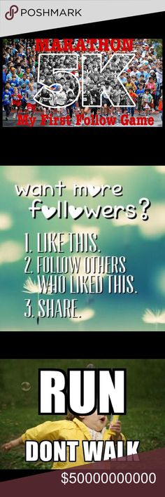 Follow Game: The 10K Super Run Follow Game: The 10K Super Run 🏃🏽♂️🏃🏼♀️🧗🏽♂️➡️➡️➡️1️⃣0️⃣K 🔶RULES 1. Like this Post 2. Follow the others who liked this post by clicking the blue Follow button  3. Share this post with your followers only 4. Feel free to tag your PFF's 💡MORE FOLLOWERS=More Exposure 🥅MY GOAL 10K! TY for visiting my closet, and following me! I have hundreds of more items coming soon.  📊Posh Stats: Top-Rated Seller, Posh Mentor, Top 10% Sharer, & Fast Shipper. 🏁ON YOUR…