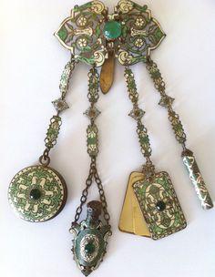 antique Victorian Enamel Chatelaine   eBay