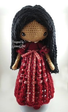 ATTENTION - Keep in mind that this is a crochet pattern in a PDF. This is NOT the finished product. Angela is approximately 17 inches tall. Also, please keep in mind that this doll cannot stand up on its own. This is a non-refundable purchase. Once the payment has been confirmed you will be allowed to download the pattern in a PDF. The language in the pattern is in English only. The pattern includes all of the yarn colors I used for the doll, however, you are free to experiment and use…