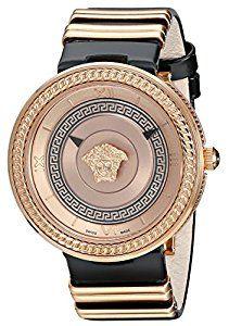 Classy and elegant Versace Women's VLC030014 V-METAL ICON Analog Display Swiss Quartz Black Watch