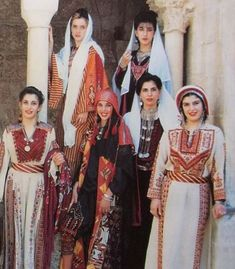Palestinian Traditional Costumes representing different areas of Palestine. Palestine History, Palestine Art, Traditional Fashion, Traditional Dresses, Palestinian Wedding, Folk Costume, Costumes, Arabic Dress, Palestinian Embroidery