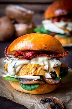 Roast Chicken on Homemade brioche with creamy garlic mushroom sauce, crispy bacon and spinach. The best sandwich. Ever.
