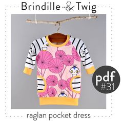 Baby dress pattern raglan sleeve pdf download door brindilleandtwig, $7.50