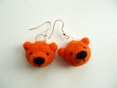 Needle Felted Orange Bear earrings, gifts for Her, gift in the box, gift for friend