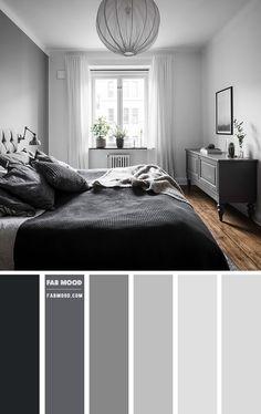Grey Colour Scheme Bedroom, Grey Bedroom Decor, Bedroom Wall Colors, Room Ideas Bedroom, Home Bedroom, Modern Bedroom, Grey Bedroom Paint, Grey Painted Bedrooms, Dark Grey Bedrooms