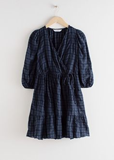 Gathered Dobby Cotton Mini Wrap Dress - Gathered Dobby Cotton Mini Wrap Dress – Navy Check – Mini dresses – & Other Stories Source by anniestrole - Party Dresses Online, Belted Shirt Dress, Mini Dress With Sleeves, Fashion Story, Dobby, Personal Style, Wrap Dress, Clothes For Women, Mini Dresses