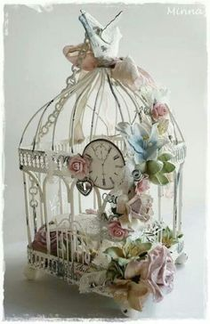 floral white Bird cage and a little clock accessory