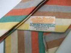 Beau Brummell Necktie Tie 4-Fold Palm Beach Goodall Worsted Schuster Vtg Stripes(40)