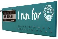 Tons of running medals holder, 9 different style, 20 colors and 400 running quotes $39.99 @www.runningonthewall.com- I run for cupcakes and so much more running gifts.