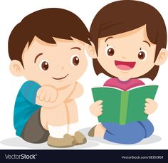 Cute girl reading book with boy vector image on VectorStock Verbs For Kids, Safety Rules For Kids, Pop Up Frame, Animated Clipart, Lexa Y Clarke, Girl Reading Book, School Murals, Kids Background, School Frame