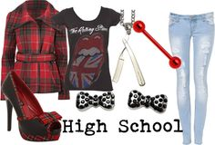 """""""High School"""" by littlemisstoxin ❤ liked on Polyvore"""