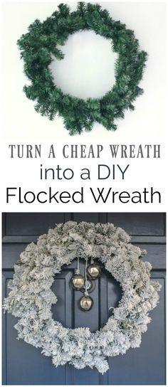 easy flocked wreath, how to make a DIY flocked Christmas wreath, DIY snowy wreath