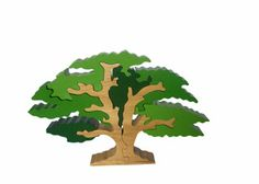 The tree measures high, and is made from sustainably sourced timber. Wooden Block Puzzle, Wooden Blocks, Block Play, Oak Tree, Scenery, Creative, Ideas, Puzzle, Paisajes
