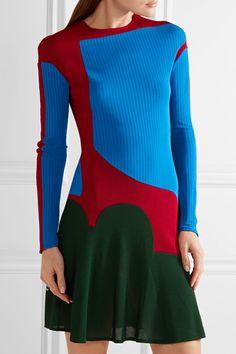 Esteban Cortazar - Color-block Stretch-knit Mini Dress - Bright blue
