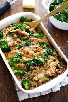 Creamy Chicken Quinoa and Broccoli Casserole Recipe --- http://pinchofyum.com/creamy-chicken-quinoa-broccoli-casserole
