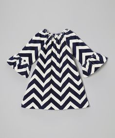 Navy Chevron Minky Peasant Dress - Infant by Lolly Gags #zulily #zulilyfinds