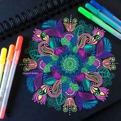 colorful designs and patterns to draw gelly roll Colorful Drawings, Pen Art, Pattern Drawing, Drawings, Doodle Art, Mandala, Gel Pen Art, Mandala Artwork, Zen Art