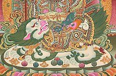 Snow Lion - Detail from Thangka