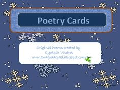 These are 8 original poem cards I have created to be placed in my poetry literacy station.  Students use this station to find rhyming words, practi...
