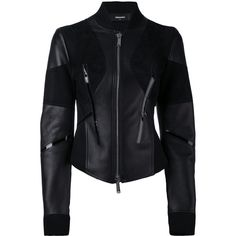Dsquared2 fitted moto jacket ($2,185) ❤ liked on Polyvore featuring outerwear, jackets, black, leather jackets, leather sport jacket, moto jackets, biker jackets and genuine leather jackets