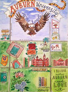 Auburn University Watercolor Map by LittleBirdeeStudios on Etsy