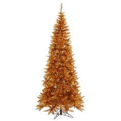 6.5\' Pre-Lit Copper Slim Fir Tree - Clear Lights