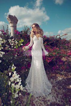 Column Lace Brush Train V-neck Natural Waist Wedding Dress