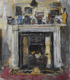 Anthony Eyton - The Fireplace,  oil on canvas, 35 x 30 3/4 in.