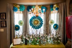 Pompoms and pinwheels. This is fantastic! Oh My Stars and Gardens: Peytons Bridal Shower
