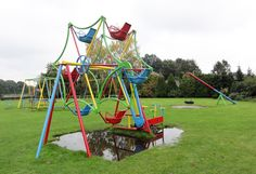"Vintage playground ferris wheel / merry-go-round - Very cool playground Ferris Wheel. By riding the ""bikes"" you can make the wheel turn around. Buurse - The Netherlands (Photo: Ilse Gerritsen) Merry Go Round Playground, Kids Indoor Playground, Kids Outdoor Play, Kids Play Area, Backyard For Kids, Outdoor Toys, Outdoor Fun, Playground Toys, Natural Playground"