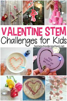 Discover 18 engaging Valentine STEM activities and challenges for kids! Find fizzing hearts, flying cupids, coding for kids, and much more in this collection. Valentines Day Activities, Valentines Day Party, Holiday Activities, Valentine Day Crafts, Preschool Activities, Holiday Crafts, Holiday Fun, Children Activities, Pick Up