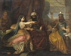 "David Jacob Jacobsen. (Danish, 1821-1871) ""Esther seated next to King Ahasuerus of Persia, pleading for the Jewish people"", 1863  ~  Christie's"