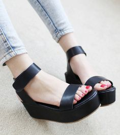 2012 sweet casual sandals platform sandals velcro small wedges women's shoes-in Sandals from Shoes on Aliexpress.com