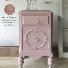 Custom color rose dusty pink side table vintage cabinet painted with eco-friendly furniture paint from Country Chic Paint Pink Furniture, Colorful Furniture, Shabby Chic Furniture, Painted Furniture, Painted Side Tables, Vintage Side Tables, Painted Night Stands, Side Table Makeover, Painted Hutch