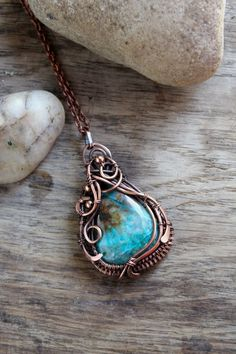 Chrysocolla pendant  Birthday gift Minimal necklace Inspirational necklace  Wire wrapped pendant  Wife gift Jewelry handmade by ChervoniKoraliArt on Etsy https://www.etsy.com/listing/225941527/chrysocolla-pendant-birthday-gift
