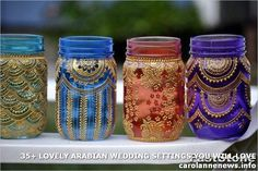 Items similar to Set of 6 Bohemian Moroccan Mason Jar Tinted Lanterns Lighting Decorated With Henna Designs Party Decor Wedding Bridal Party Events on Etsy Mason Jars, Mason Jar Lanterns, Mason Jar Lighting, Bottles And Jars, Mason Jar Crafts, Glass Jars, Ramadan Lantern, Moroccan Party, Moroccan Home Decor