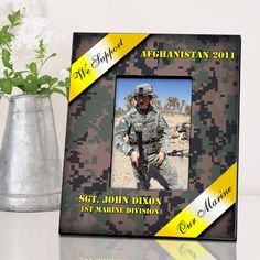 "Frame measures 8"" x 10"" and holds a 4"" x 6"" photo.   Personalize three lines up to 30 characters per line.  Choose branch of service for ribbon-Our Soldier, Our Marine, Our Airman, Our Sailor."