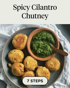 Spicy Cilantro Chutney in 7 steps Indian Food Recipes, Vegetarian Recipes, Ethnic Recipes, Cilantro Chutney, Vegan Life, No Cook Meals, Food Videos, Baked Potato, Cucumber