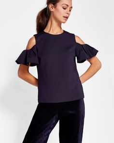 fd0a636f8e11 Cold shoulder frill sleeve top - Dark Blue