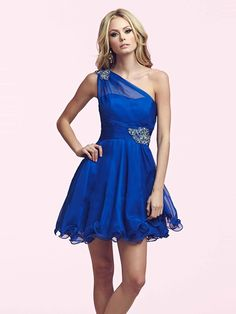 2014 Style A-line One Shoulder Rhinestone Homecoming Dresses/Cocktail Dresses #GM515
