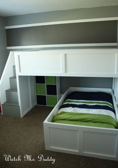I like the idea of using stairs vs. a ladder....bit safer. The upstairs could be a play area if a second bed isn't needed yet.  Watch Me Daddy: DIY L Bunk Beds
