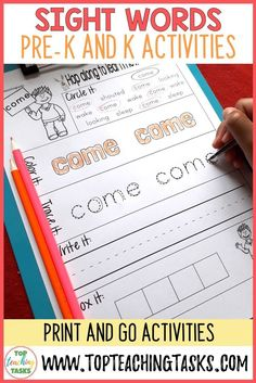 Sight Word Printables for Pre-K and Kindergarten Dolch word lists. This pack of sight word activities includes all the Pre-K and K sight words based on the Dolch high-frequency word lists - a total of 52 printable No Prep worksheets,  Sight word recognition improves reading fluency, allowing the student to focus their efforts on the more mentally demanding task of reading comprehension. #dolchsightwords #sightwordactivities #kindergartensightwords #preksightwords