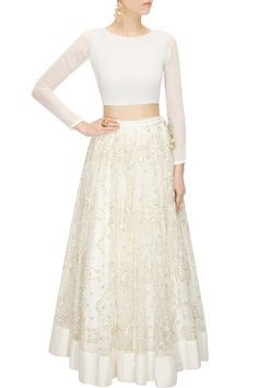 PRATHYUSHA GARIMELLA White sequins embroidered lehenga with crop top available only at Pernia's Pop-Up Shop.