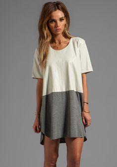 Mason by Michelle Mason Leather Front Tee Dress in Grey/Bone