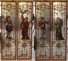 Double pair of antique stained glass windows signed by Eug. Levert and dated 1893