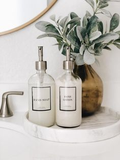 Soap dispensers clear glass bathroom set: Hand Soap and Hand Lotion Bathroom Counter Decor, Glass Bathroom, Bathroom Styling, Bathroom Sets, Bathroom Interior Design, Bathrooms, Small Bathroom, Bad Inspiration, Bathroom Inspiration
