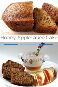 Honey Applesauce Cake- Made in a loaf pan, this moist cake is great for enjoying now or freezing for later. A perfect gift loaf, this cake stays fresh for at least a week with the flavor improving eac (Muffin Pomme Miel) Apple Recipes, Cake Recipes, Dessert Recipes, Applesauce Recipes, Applesauce Bread, Moist Cakes, Sweet Cakes, Loaf Pan, Sweet Bread